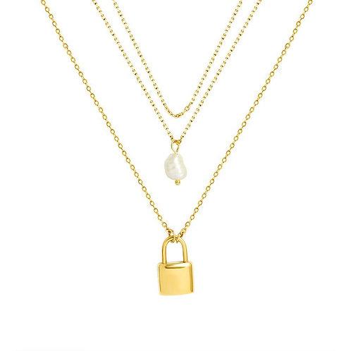 Mini Lock & Pearl Necklace