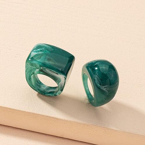 Emerald Green Acrylic Ring Set