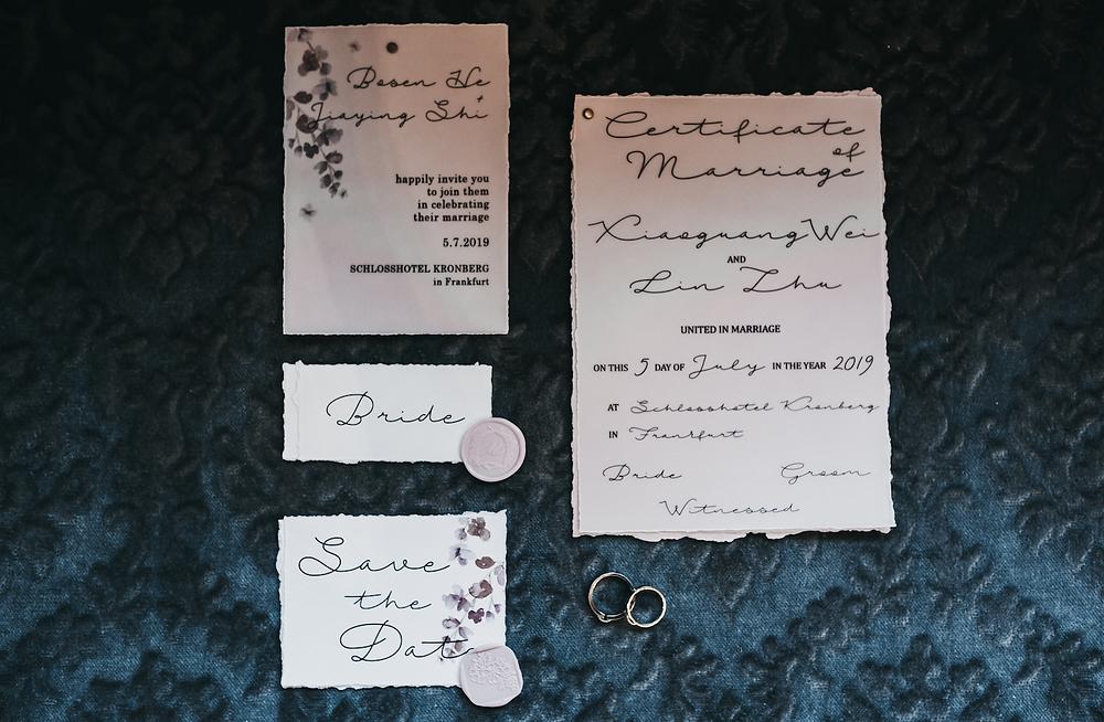 Wedding stationary - wedding at schloss hotel kronberg