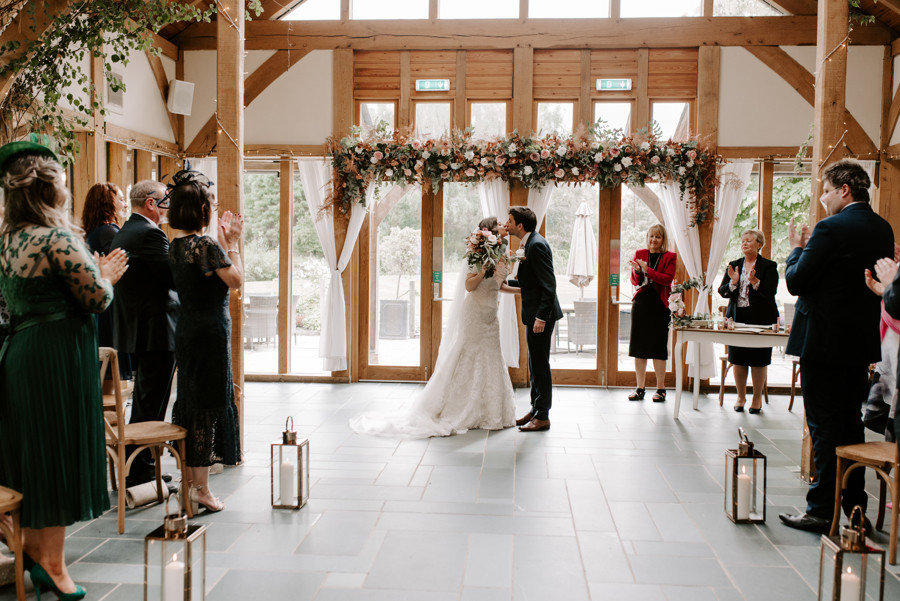 First kiss at The Oak Tree of Peover in Cheshire