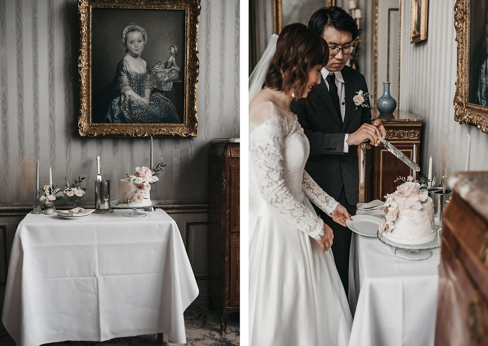 elopement at schlosshotel in kronberg - blue saloon
