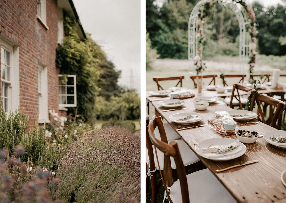 Tuscan themed wedding in Knutsford - Outdoor ceremony - Lavender details
