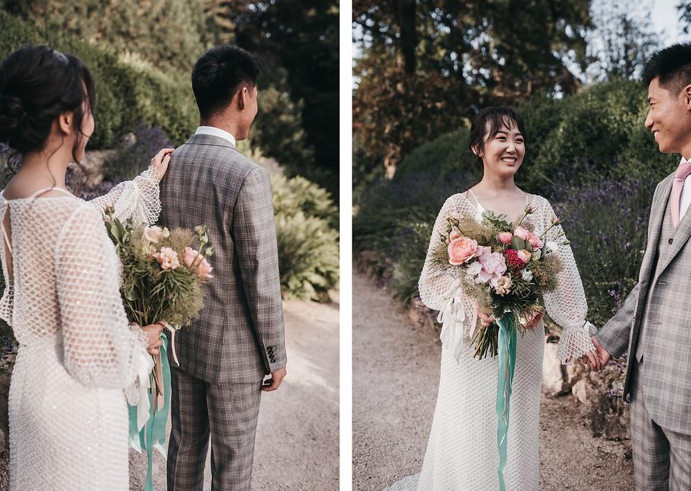 First Look - bride and groom- schloss hotel kronberg - wedding day