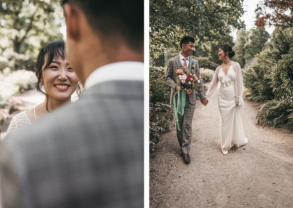 First look during wedding elopement at Schlosshotel Kronberg, Frankfurt