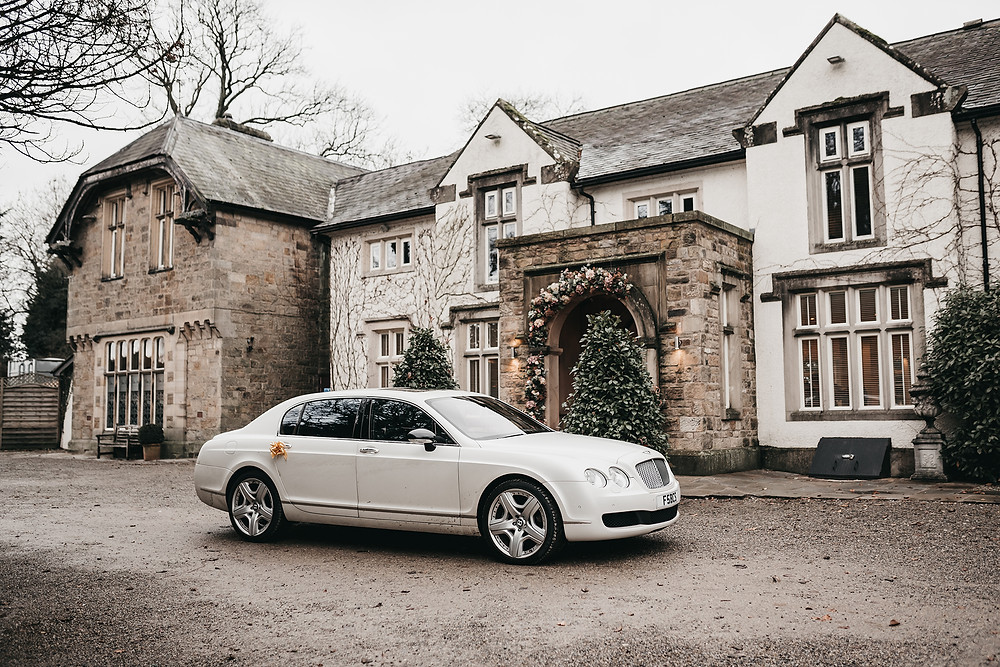 mitton hall wedding day car
