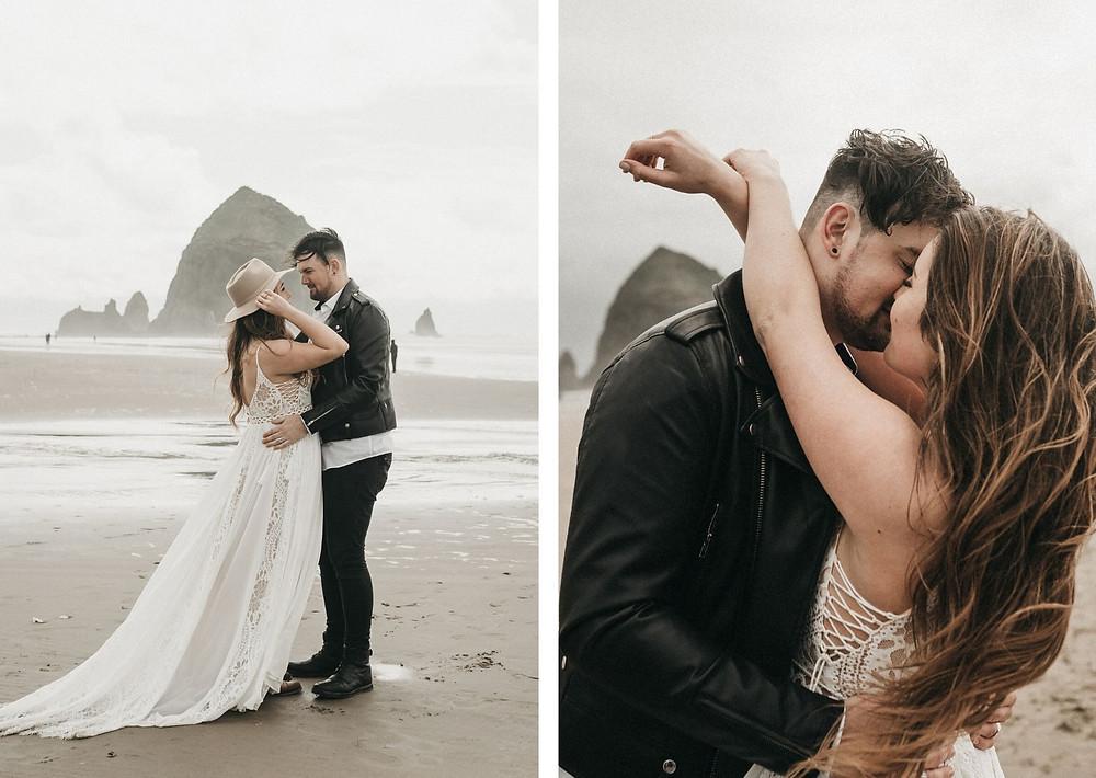 boho bride - beach elopement wedding - uk photography