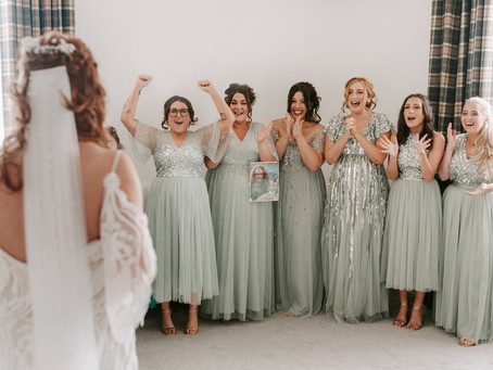First Looks with Family Members and Bridesmaids