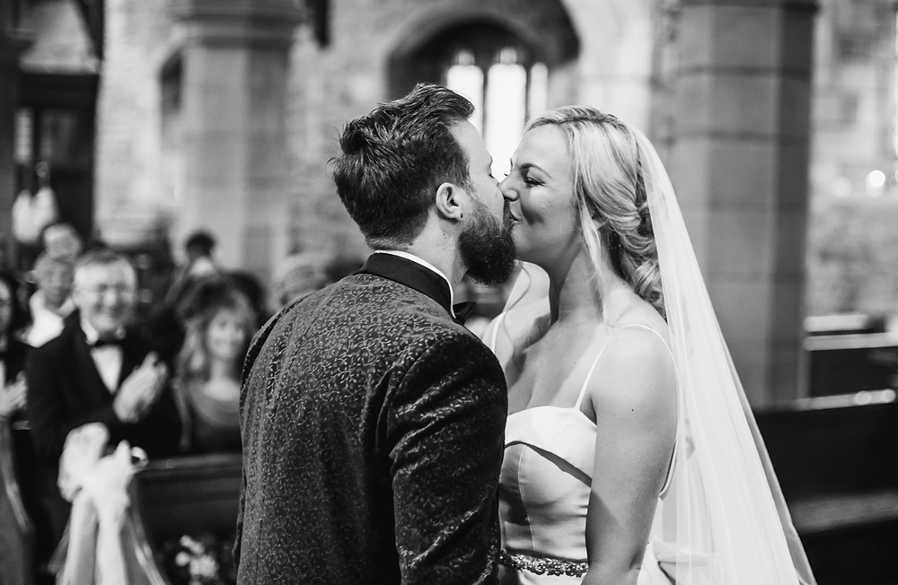 just married first kiss wedding photography in lancashire