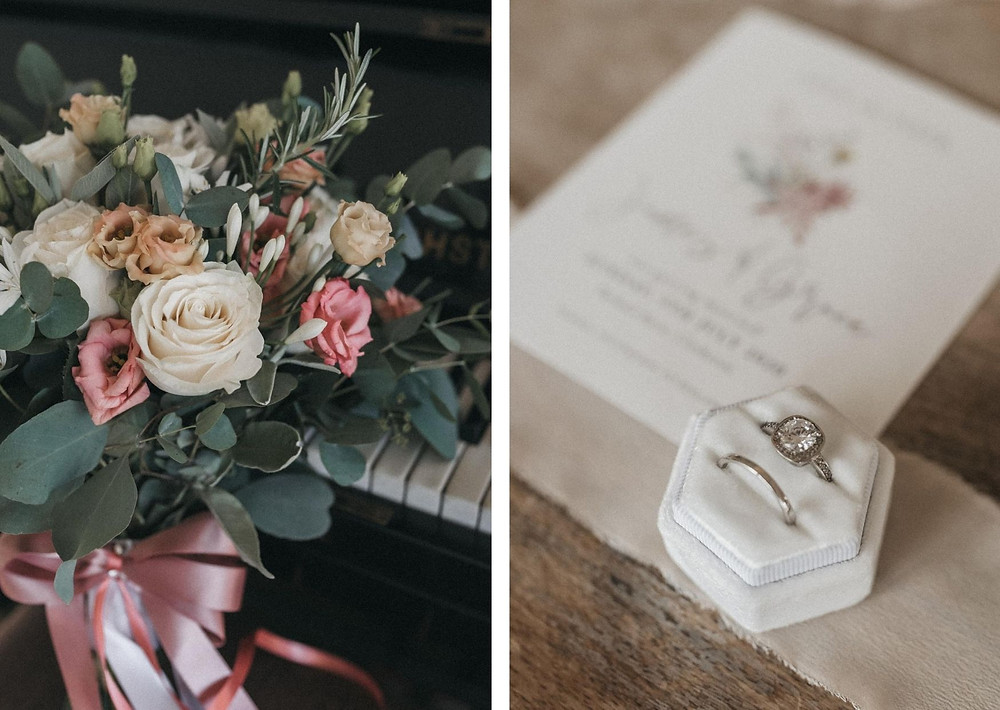 Wedding details at barn wedding in Bashall Barn