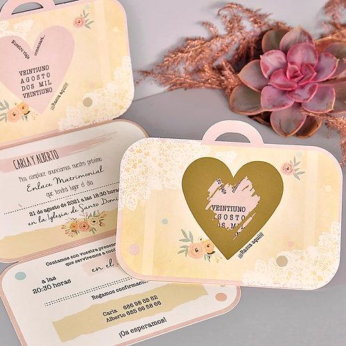 Invitación Con forma de maleta con Foil 39710