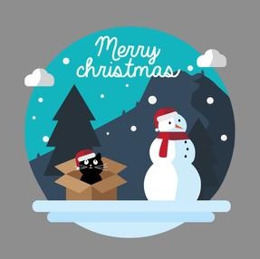 Kerstkaart - Sneeuwscene