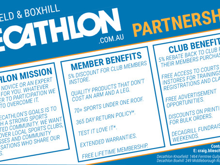 Shop at Decathlon Box Hill or Knoxfield, get 5% off and support our club!