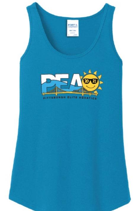 PEAQ  Summer Logo Neon Blue Ladies Tank