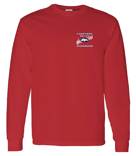 CV Showband Half Time Is Game Time Red Long Sleeve Tee
