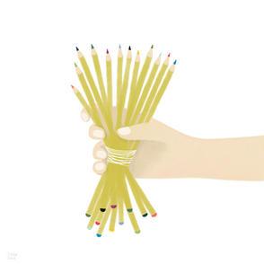 Un bouquet di matite ben temperate