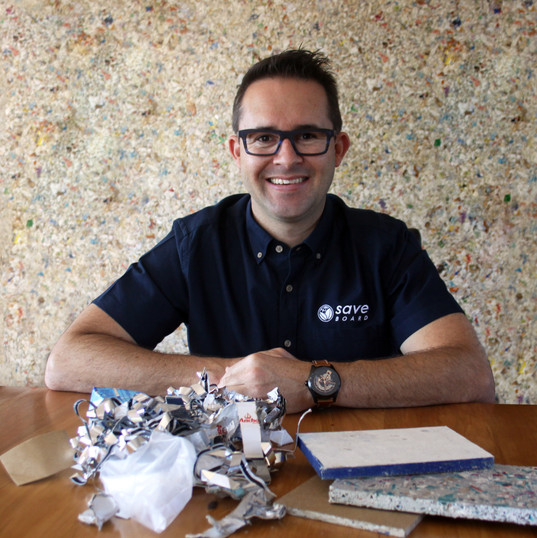 Co-Founder & CEO, Paul Charteris with our waste problem and solution