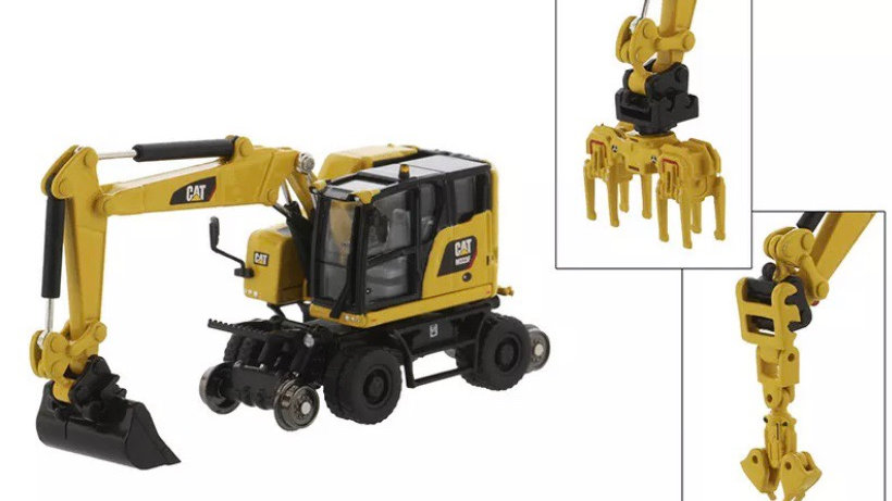 85612 / 1:87 Diecast Masters CAT M323F wheeled MOW EXCAVATOR in safety yellow