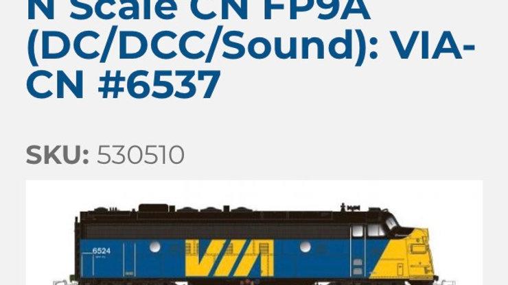 530510/ N SCALE Rapido CN FP9A DCC/sound  VIA Rail#6537