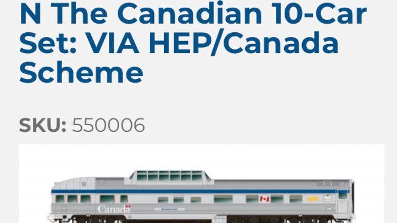 550006 / N scale Canadian 10 car, VIA HEP