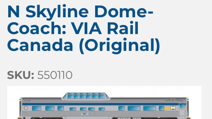 550110 / N scale Canadian Skyline - VIA Original