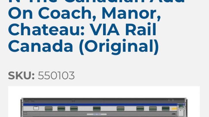550103 / N scale Canadian 3 pack add on (VIA Original)