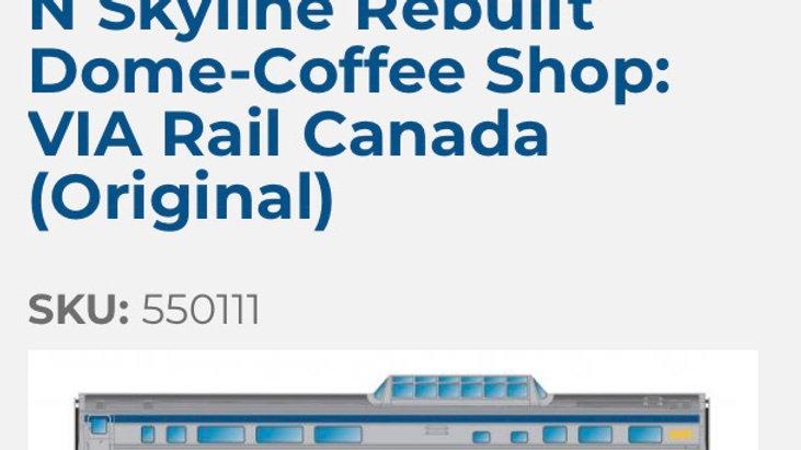 550111 / N scale Canadian Skyline REBUILT coffee shop VIA