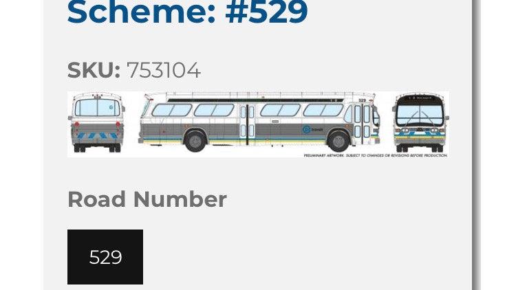 753104 / 1:87 HO scale Edmonton Transit Service fishbowl bus #529 (DELUXE-light