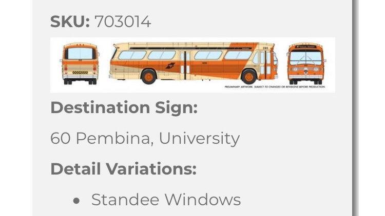 703014 / 1:87 HO GMC fishbowl bus - Winnipeg Transit - STANDARD