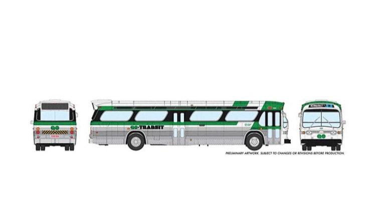 703009 / 1:87 HO GMC fishbowl bus - #1123 GO Transit - STANDARD