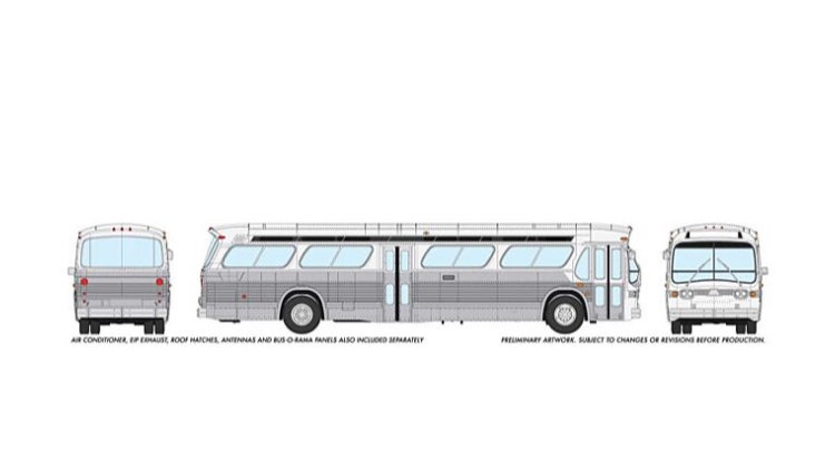 7030070 / 1:87 HO GMC fishbowl bus - no# blank  silver/white Transit - STANDARD