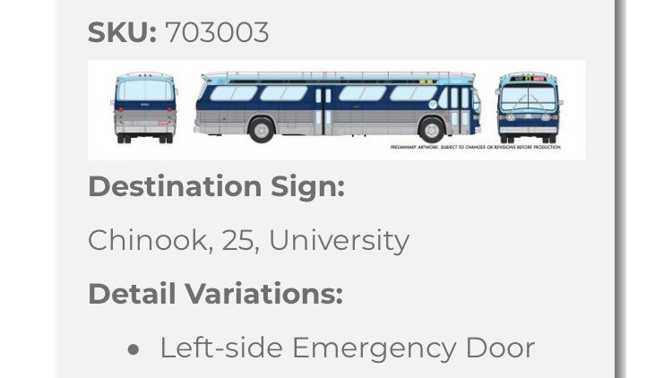 703003 / 1:87 HO GMC fishbowl bus - Calgary Transit - STANDARD