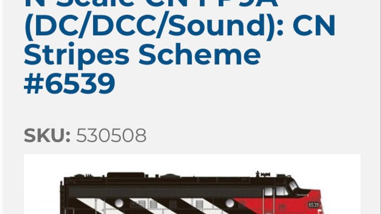 530508/ N SCALE Rapido CN FP9A CN #6539 DCC/Sound