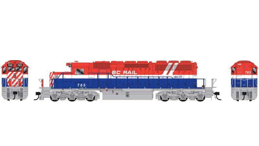 25024 / BC Rail #767 DCC w/Sound RWB HOCKEY STICK HO Scale