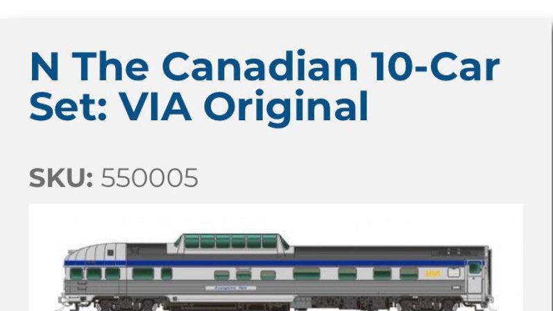 550005 / N scale Canadian 10 car, VIA Original