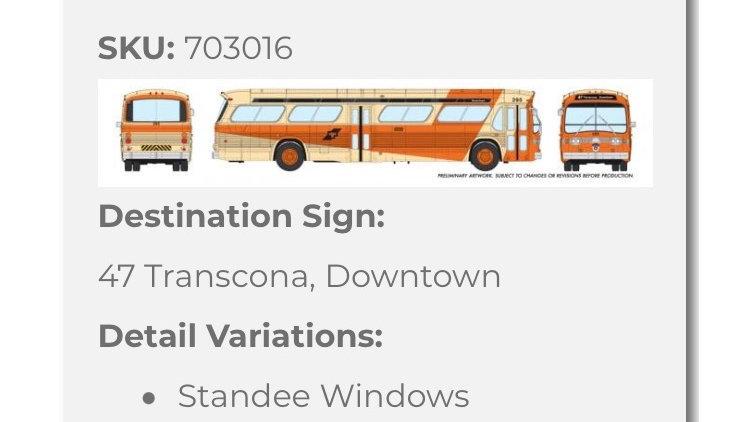 703016 / 1:87 HO GMC fishbowl bus - Winnipeg Transit - STANDARD