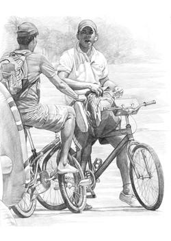 dibujo de ciclistas 100 x 80 cms