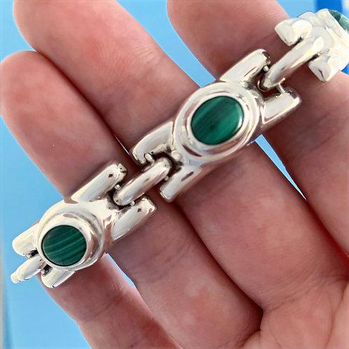BRK 102 Silver & Malakite Bracelet