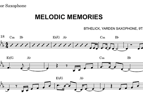 Melodic Memories Sheet Music Bb Tenor / Soprano Sax
