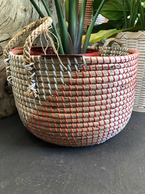 "Peach/Natural Basket Pot 12"" wide/10"" tall"