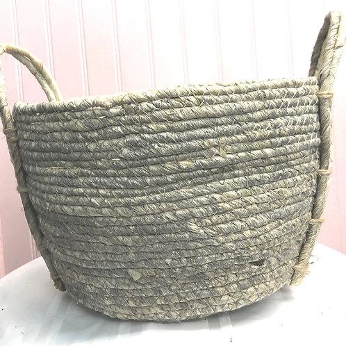 """Hand Woven Light Grey Jute Basket Pot 6"""""""