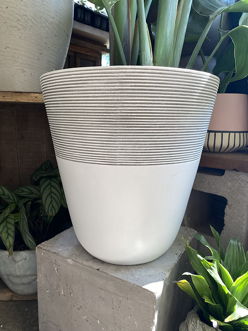 """Lined White Pot 10"""""""
