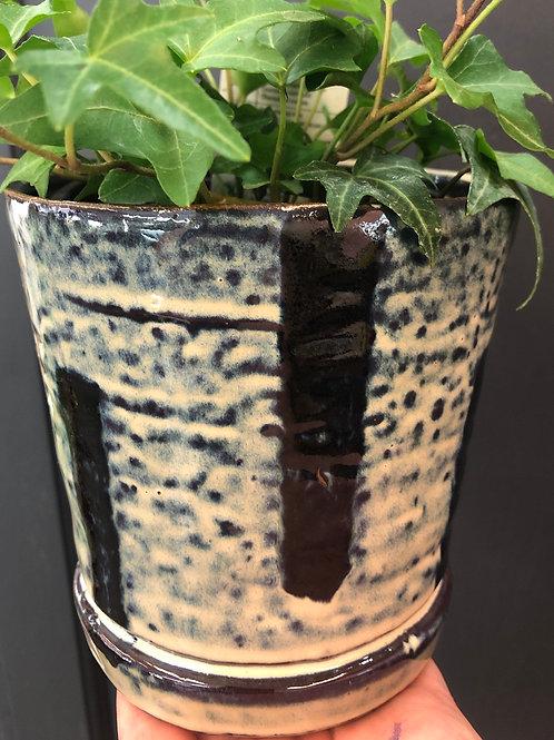 "Ink Blue Striped Pottery 4"""