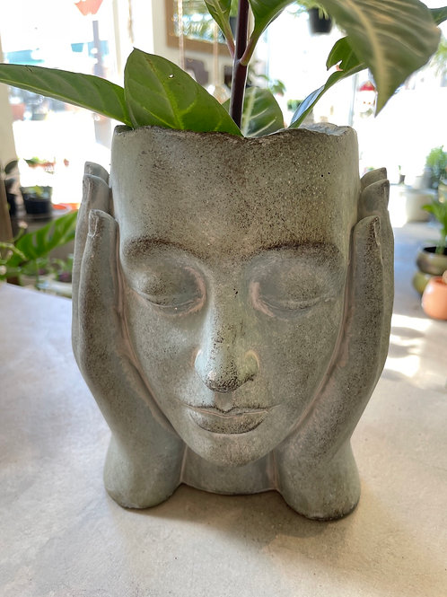 "Concrete Head in Hands ( 4"" opening, 9""H"