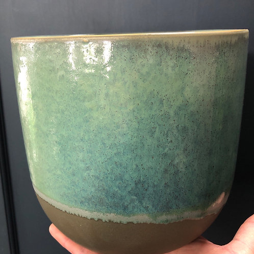 "Green/ Blue Glazed 4"" pot"