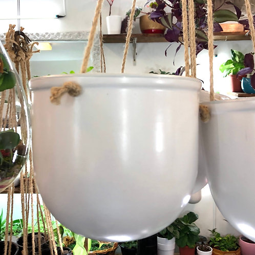 "Smooth White Hanging Pot 6"" ( jute hanger with hook)"