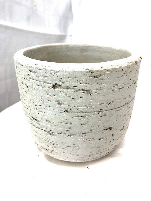 "Textured off white pot 4"""