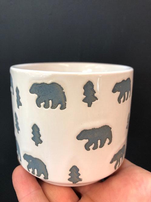 """Polar Bear Etched Pot 3"""""""