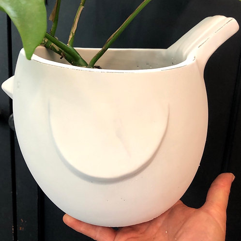 "Simple White Bird Pot 7"""