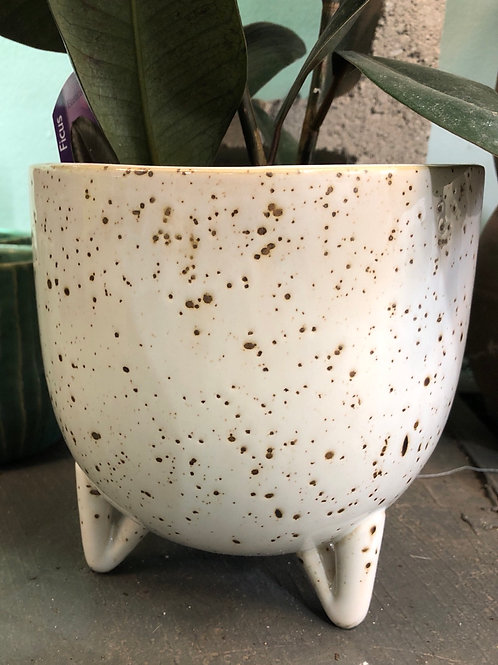 """Speckled Pot with Legs 6"""""""