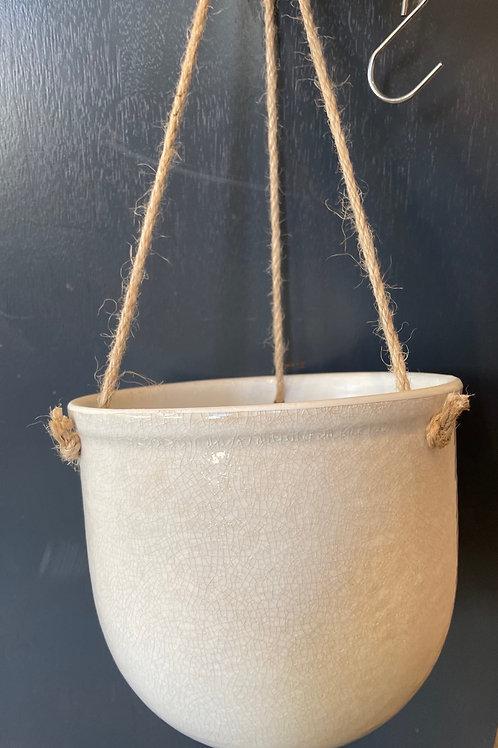 "Cream Crackle Glaze Hanging Pot 6"""